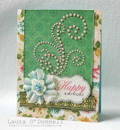 Hello, gorgeous card by Laura O'Donnell. We really like you. Laura created the frame with the Swanky Sentiments stamp set and the lace border with Vintage Lace set. Both sets are from TechniqueTuesday.com.