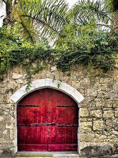 Red medieval garden door