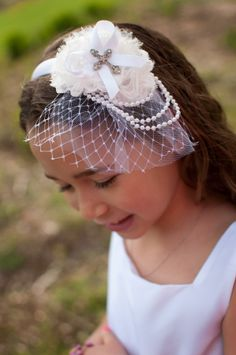 Beautiful First Holy Communion headband by miniME www.facebook.com/minimeacc