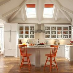 Interior : Cool Style Of Skylight Shades With Small Kitchen Island And Orange Wood Barstools Plus Vent Hood Over Stove For Beautiful Contemporary Kitchen Design - Interior Home with Skylight Shade Design