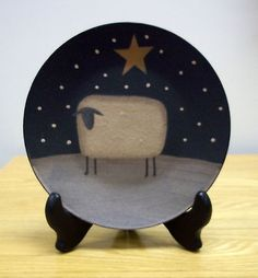 Country Prim SNOWY SHEEP & STAR Wooden 6