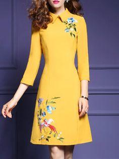 Embroidered Floral 3/4 Sleeve Midi Dress