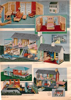 marx tin house from sears catalog Vintage Dollhouse, Dollhouse Dolls, Miniature Dolls, Vintage Dolls, Dollhouse Miniatures, Vintage Barbie, Doll Furniture, Dollhouse Furniture, Kids Furniture