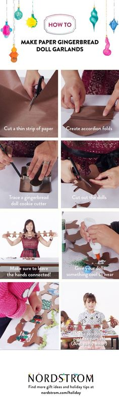 How-to make paper gingerbread doll garlands.: