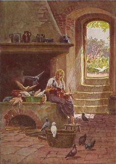 """""""Aschenputtel"""" - Illustration zu Grimms Märchen von Professor Paul Hey, Maler, Grafiker und Illustrator (19.10.1867 in München - 14.10.1952 Gauting)"""