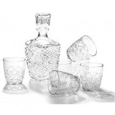 Kryształowa Karafka i kieliszki do whisky Dedalo