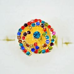 Free shipping and no min order! Party Rhinestone Rings Women Colourful Rings Fashion 2014 $3.77