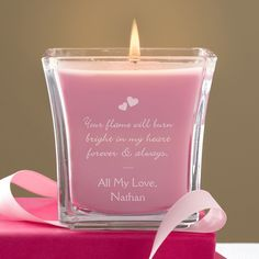11143 - Flame Of Love Personalized Glass Scented Candle