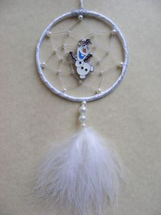 Snowman MINI White Dreamcatcher Dream Catcher  Gift MADE IN UK Olaf Inspired