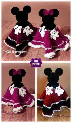 Häkeln Sie Maus Lovey Free Crochet Pattern & Paid - Bebés - Leads For Amigurumi Crochet Disney, Disney Crochet Patterns, Crochet Mouse, Crochet Designs, Crochet Dolls, Crochet Security Blanket, Crochet Baby Blanket Beginner, Beginner Crochet Projects, Lovey Blanket