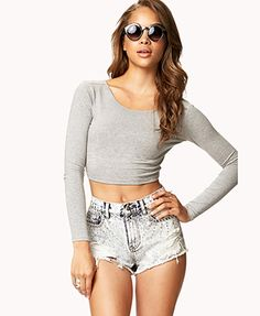 Long Sleeve Crop Top | FOREVER 21 - 2075740285