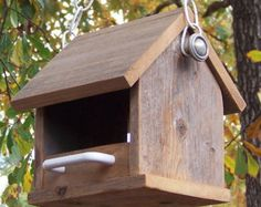 Wooden Bird Feeder Rustic Reclaimed Natural by PrimitiveWoodworks