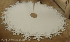 snowflake tree skirt diy, crafts, seasonal holiday decor, to make an awesome snowflake tree skirt that will compliment any decorative holiday scheme Diy Christmas Tree Skirt, Xmas Tree Skirts, Christmas Sewing, Christmas Makes, Felt Christmas, Christmas Wishes, Christmas Holidays, Merry Christmas, Christmas Projects