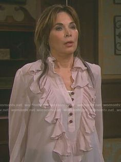 15c4a042e3aa Kate s pink ruffled blouse on Days of our Lives. Outfit Details  https