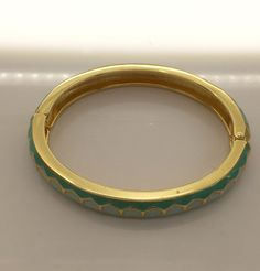 """Clic Clac Inspired Turquois Enamel Bangle 3/8"""" wide"""