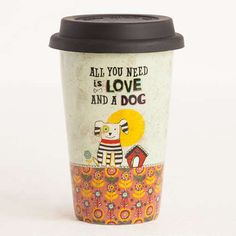 """Love and A Dog"" Thermal Mug  - Our super cute ceramic double-walled coffee mugs keep drinks hot - and cars and clothes splash-free. Mint thermal mug with black silicone lid, orange floral print, dog, house, bone, bright sun, and 'All You Need Is Love And A Dog.' Perfect gift for dog lovers on the go!"