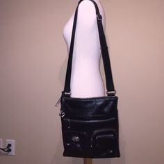 SALE Brighton Black Leather Satchel WORN ONCE, PRACTICALLY NEW! Super comfy and an easy, go-to purse that matches almost anything! Holds a lot and has convenient pockets and compartments inside the purse. Has zipper pockets on the outside as well. Brighton Bags Satchels