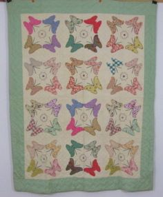 Vintage hand stitched and machine sewn bow tie quilt top feedsack 1930s butterfly applique feedsack quilt quilted hearts ccuart Image collections