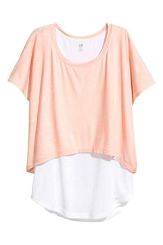 Top da yoga a due strati - Rosa cipria/bianco - DONNA | H&M IT 1