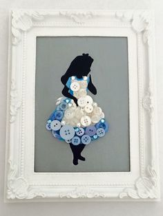 Hand painted framed canvas with button and bead detail Picture size 7x5