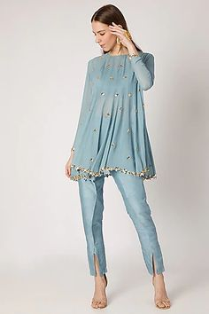 Sky Blue Embroidered Top With Bustier & Flap Pants Design by Ria Shah Label at Pernia's Pop Up Shop Source by afewextrainches dresses indian Dress Indian Style, Indian Dresses, Indian Outfits, Pakistani Fashion Casual, Pakistani Dresses Casual, Indian Fashion Designers, Indian Designer Outfits, Stylish Dresses, Fashion Dresses