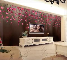 3D Wall Murals Wall Paper Mural Luxury Wallpaper Bedroom for Walls Home Decoration Grande Fresque Murale Paysage Red Flower mura