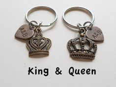 Couple Keychain Set, King and Queen Crown Keychains, great bronze 8 year anniversary gift, hand stamped initial tags, personalized