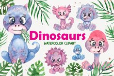 Girl Dinosaur, Cute Dinosaur, Watercolor Flowers, Watercolor Paintings, Holiday Invitations, Graphic Patterns, Clip Art, Craft Projects, How To Draw Hands