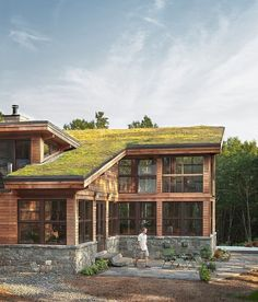 Warm sustainable home using many natural materials expressed in modern ways located in Bremen, Maine.
