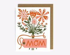 Mother's Day Flower Boquet Screen Printed by WorthwhilePaper Flower Boquet, Floral Bouquets, Mom Cards, Mothers Day Cards, Mother's Day Card Messages, Mother Card, Mothers Day Flowers, Hand Illustration, Illustrations