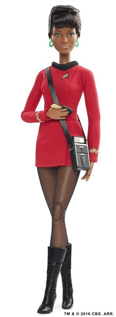 "2016 — Barbie ""Star Trek"" Anniversary Uhura Doll — Calling all ""Star Trek"" fans! of the iconic ""Star Trek"" pantheon of film & television! Mattel Barbie, Barbie Et Ken, Star Trek 25th Anniversary, The Originals Actors, Barbie Celebrity, Nichelle Nichols, African American Dolls, African Dolls, Fiction"