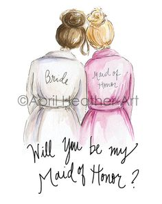Maid of Honor Brunette Bride and Blonde Maid of Honor, Will You Be My Maid of Honor card PDF printable card