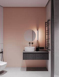 Modern Bathroom Have a nice week everyone! Today we bring you the topic: a modern bathroom. Do you know how to achieve the perfect bathroom decor? Bathroom Interior Design, Bathroom Mirror, Modern Bathroom Vanity, Small Bathroom, Small Bathroom Decor, Bathroom Decor, Modern Bathroom Design, Rv Decor, Pink Bathroom