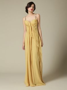 J.Mendel Silk Draped Gown in Antique Gold (100% silk)