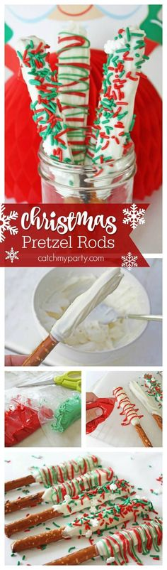 Make these easy white chocolate pretzels rods for Christmas. So easy to make -- just add sprinkles or colored candy melts. See more Christmas party ideas at CatchMyParty.com #catchmyparty #partyideas #christmasparty #christmascake Christmas Party Snacks, Christmas Pretzels, Christmas Deserts, Christmas Food Gifts, Christmas Cooking, Christmas Goodies, Christmas Ideas, Christmas Time, Xmas Party