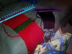 Loom knitting projects.....scarf and headband....WIP