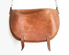 Vintage Leather Bag Vintage Leather Satchel Vintage by BygoneVera