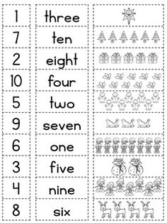 Christmas Number Match Up and Worksheet by Alison Hislop Number Words Worksheets, Free Kindergarten Worksheets, 1st Grade Worksheets, Math Activities, English Lessons For Kids, English Worksheets For Kids, Christmas Writing, Math Sheets, Numbers For Kids