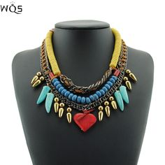 Hot Sale Red Acrylic Rope Sparkle Statement Designer Pendant Necklace Ethnic Vintage Cute Brand Steampunk Chain Choker Jewelry