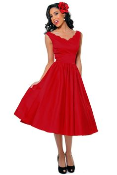 BEST SELLER! QUEEN OF HEARTZ 1950's Style Red Cotton Sateen Scallop Brenda Swing Dress - Unique Vintage - Homecoming Dresses, Pinup & Prom Dresses.