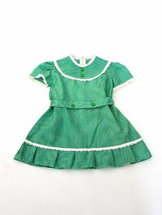 Cute vintage girls dress, green & white stripes with puff sleeves.