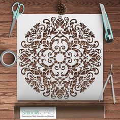 Round Symmetrical Mandala-Style Stencil Modern por StencilsLabNY