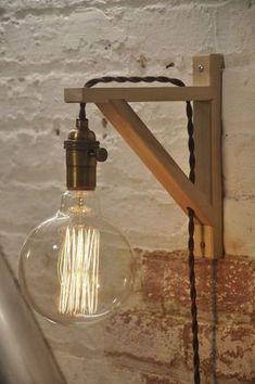 Muur schans antieke koperen berken hout licht Lamp industriële
