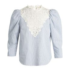 Sea Ruffled striped cotton blouse (182.990 CLP) ❤ liked on Polyvore featuring tops, blouses, blue white, victorian blouse, flutter sleeve blouse, flutter sleeve top, embroidery blouses and blue and white stripe shirt