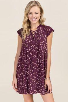 Brigette Lace Up Floral Shift Dress
