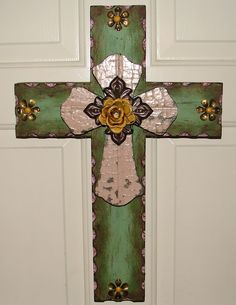 DC016B Green & Pink Stacked Rustic Cross with by DiaMorDecor, $85.00