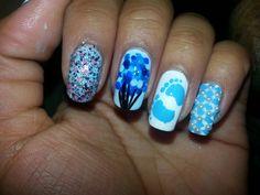 """""""It's a boy"""" nail art!"""
