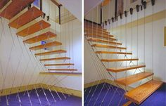 Utilizing a tension system, this suspended staircase is not unlike a suspension bridge in its execution. Wires hold every step in place without a single traditional form of support.