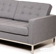 Florence Knoll Style 3 Seater Sofa, Cadet Grey Tweed Cashmere Wool |  Loveseat Sofa,