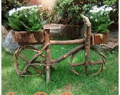 Bicicleta c/ cachepô madeira cipó jardim
